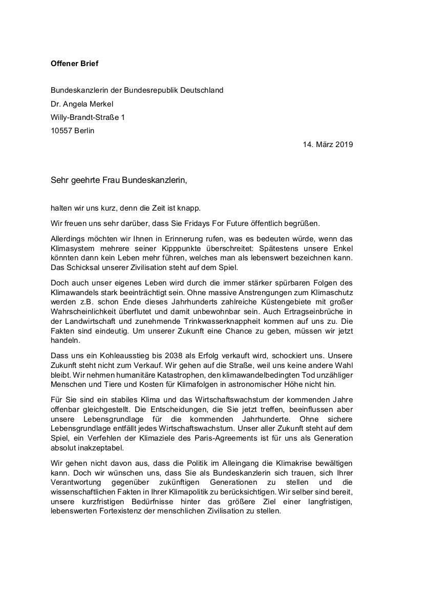 carta a Merkel fff